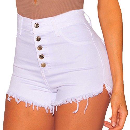 De Puro Alta Elasticidad Cintura Mujeres Mezclilla Blanco Color Corto Shorts Vaqueros I4dqw1Y1