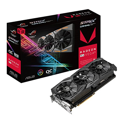 ASUS ROG-STRIX-RXVEGA56-O8G-GAMING 8GB OC Edition VR Ready 5K HD Gaming DP HDMI DVI AMD Gaming Graphics Card