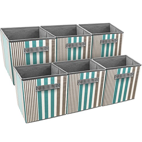 Sorbus Foldable Storage Cube Basket Bin, Vertical Stripe Line Pattern (6 Pack, Aqua)