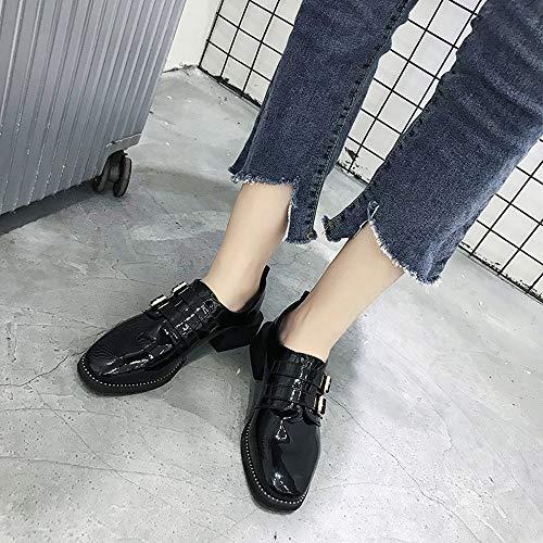 Toe Lässige Platz Damenschuhe Lederstiefel Low Lackstiefel Casual Top Stiefel Damen Frauen Vintage Schwarz Party Flach Freizeit Stiefel Schuhe Sonnena Booties Boden tBI0a