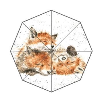 Flipped Summer Paraguas con Estampado Fox Acuarela Pintura Personalizada Arte Impresiones Paraguas