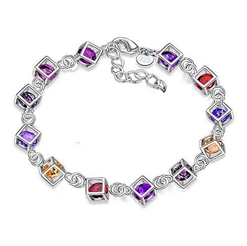 Da.Wa Square Multiple Colors Diamond Silver Hand Chain Wristband Bangle Bracelet for Women Girl - Wa Square