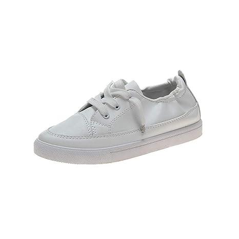 VonVonCo Zapatos para Mujer Planos cómodos, Informales, Blancos ...
