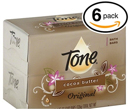 (PACK OF 6 BARS) Tone Soap Bath Bar, Original Scent. COCOA BUTTER, BOTANICALS & VITAMIN-E. Rich & Creamy Lather! Great for Hands, Face & Body! (6 Bars of Soap, 4.25oz Each Bar) Sodium Chloride Moisturizing Body Wash
