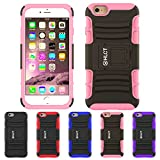 iPhone 6S Plus Case, HLCT Rugged Shock Proof Dual-Layer Case with Built-In Kickstand for iPhone 6S Plus (2016) (Pink)