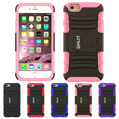 Price comparison product image iPhone 6s Plus Stand Case, iPhone 6 Plus Case, HLCT Rugged Shock Proof Dual Layer Case with Built in Kickstand (Pink)