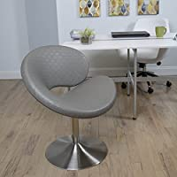 MIX Brushed Stainless Steel Faux Leather Grey C Shape Swivel Lounge Chair with Round Trumpet Base