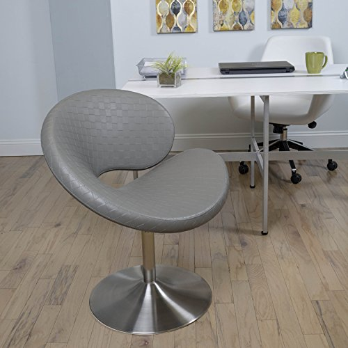 MIX Brushed Stainless Steel Faux Leather Grey C Shape Swivel