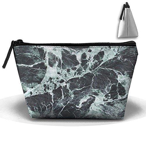 RobotDayUpUP Black Green Marble Womens Travel Cosmetic Bag P