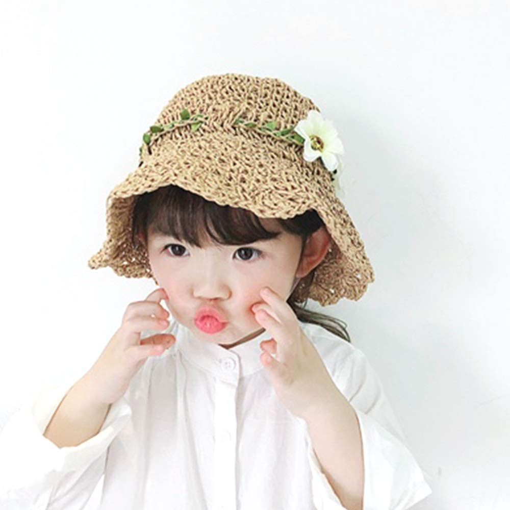 NingNing NN Sun hat, Fisherman hat, Wide-Brimmed hat, Spring and Summer, Sun Protection Sunshade, Chin Rope, Girl, Princess hat, Beach hat - Brown Children's Outdoor Equipment (Size : L)