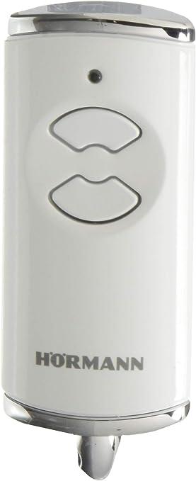 H/örmann HSE 4 BS 4511565 frecuencia 868 MHz, con tapas cromadas, pilas, dimensiones 28 x 70 x 14 mm, incluye llavero Mando a distancia para puerta de garaje color blanco brillante
