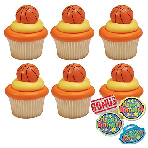 3D Basketball Cupcake Toppers and Bonus Birthday Ring - 25 piece