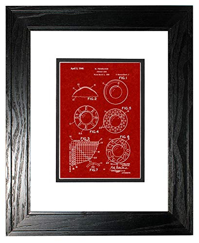 Contact Lens Patent Art Burgundy Red Print in a Black Pine Wood Frame with a Double Mat (11