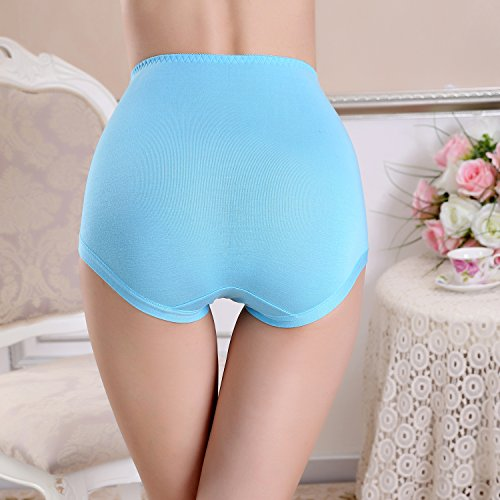 FZmix Women'S Briefs Underwear Modal Abdomen Panties Multicolor Classic High Waist Lady'S Underwear Girl Lingerie Underpants Blue