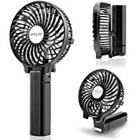 OPOLAR Handheld Portable Battery Operated Rechargeable USB Fan,Mini Personal fan with 2200mAh Battery and 3 Settings for Travel Home and Office Use (Strong Wind, Adjustable Angle)- Black