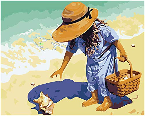 DIY Painting By Numbers Oil Paint Adult Hand Painted Kits Paint-Child, beach, shell 16