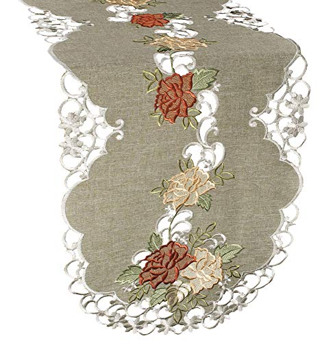 Linens, Art and Things Embroidered Table Runner Dresser Scarf Coffee Table Scarf Gold & Rust Roses on Antique Green 16 x 35 Inch