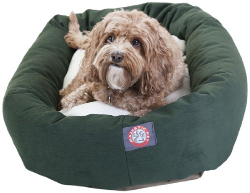 32 inch Green & Sherpa Bagel Dog Bed By Majestic Pet Products