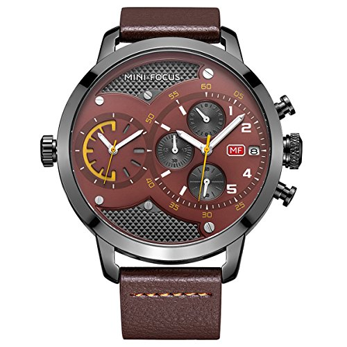 Big Date Automatic Watch - MINI FOCUS Big Brown Dial Dual Time Chronograph Sport Men Watch With Date Automatic Calendar And Genuine Leather Band