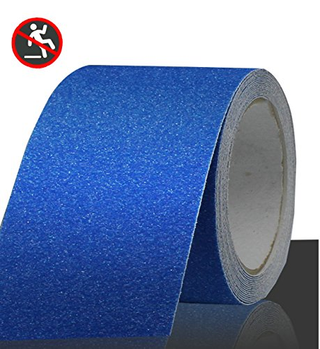 - Professional Non-Slip Safety Tape, High Traction Grip for Stairs, Steps, Boats, Garage, Ladders, Slip-Resistant Strong Adhesive Treads, Indoor Outdoor (Width: 4 in × Length: 16.4 ft, Blue)