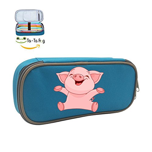 The Magic Pen Case Happy Piggy Pencil Bag Big Capacity Multifunction Canvas-Blue For Boy Girl - Piggy Hugs