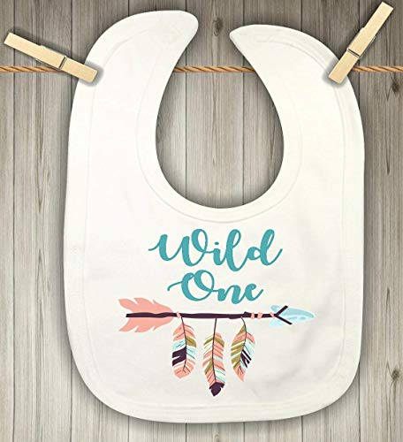 Baby Bib for Girls - Wild One First Birthday Party Bib - Boho Feathers and - 1st Personalized Birthday Bib