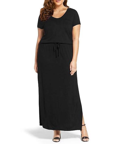 CNFIO Women\'s Plus Size Tank Dress Short Sleeve/Sleeveless Summer Plain  Casual Swing T-Shirt Dresses