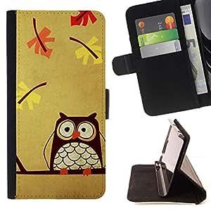 For HTC One Mini 2 M8 MINI Case , Pájaro Dibujo Otoño inteligente Maestro- la tarjeta de Crédito Slots PU Funda de cuero Monedero caso cubierta de piel