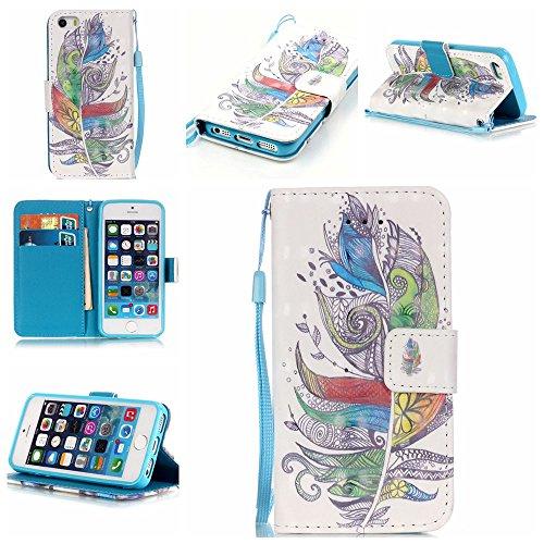 ZXLZKQ pour iPhone 5 / 5S / SE Étui Cartoon Fleur Polka Dot De Plumes PU Cuir 3D Bling Portefeuille Flip Magnétique Lanyard Housse Case Coque pour Apple iPhone 5 / 5S / SE (non applicable iPhone 5C)