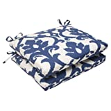 Pillow Perfect Indoor/Outdoor Bosco Squared Seat Cushion, Navy, Set of 2