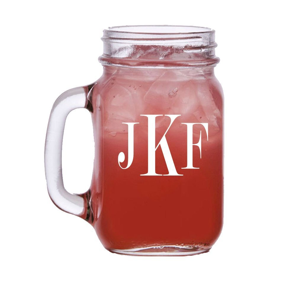 Amazon.com: Personalized Mason Jar Beer Glass, Monogrammed Mason Jar ...