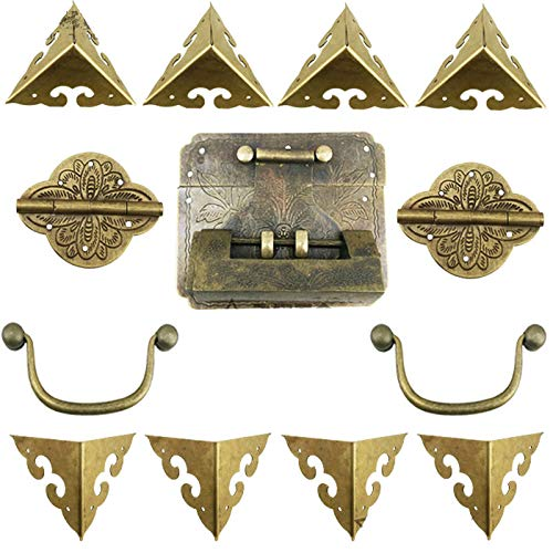 BIG-DEAL_Chinese Vintage Brass Lock Set for for Wooden Box,Vase Buckle Hasp Latch Lock+ Hinge+Corner+Handle,Bronze Tone1