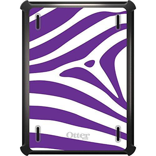 DistinctInk Case Compatible with iPad Mini 4 - Custom Black OtterBox Defender with Stand, Screen Protector - Purple & White Zebra Skin Stripes