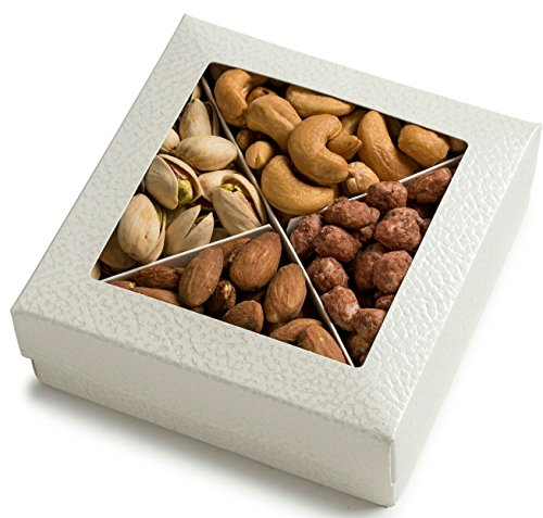 Freshly Roasted Gourmet Nuts Gift Basket, Nut Gift Tray 4 section (GIFT BOX)