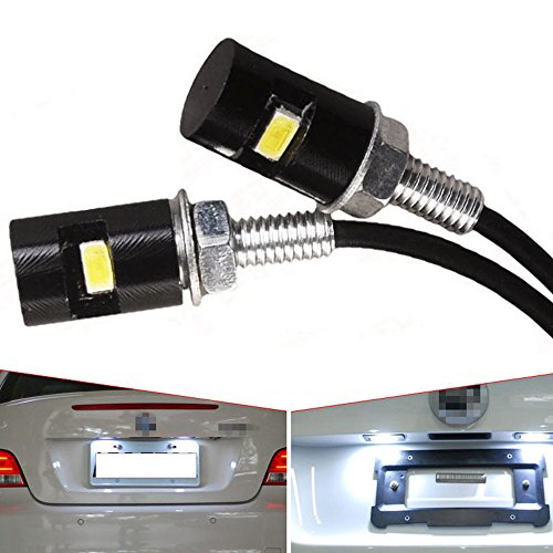KDL 2 xLED Car Motorcycle White LED License Plate Screw Bolt Light Bulbs Lamp US
