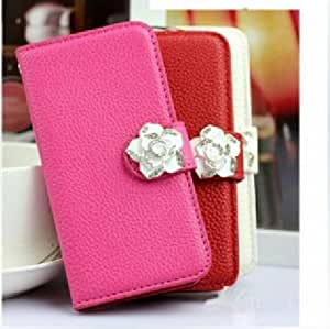 Luxury Crystal Rhinestone Camellia Leather Card Flip Card Holder Wallet Case Cover for Sony Xperia P LT22i (rose(dark pink))