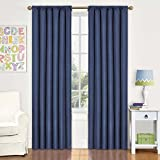 Eclipse Kids Curtains Eclipse Kids Kendall Blackout Thermal Curtain Panel,Denim, 42 Inch X 63 Inch