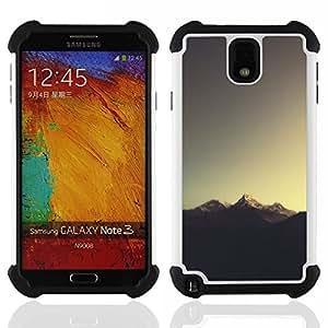 """SAMSUNG Galaxy Note 3 III / N9000 / N9005 - 3 en 1 impreso colorido de Altas Prestaciones PC Funda chaqueta Negro cubierta gel silicona suave (Sugerencia Montaña"""")"""