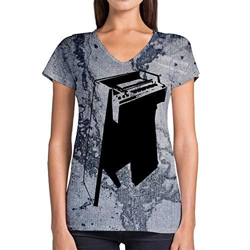 Idakoos Instruments Mellotron 3D - Women V-Neck T-Shirt Polyester Novelty ()