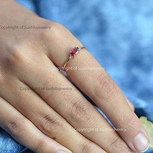 Natural 0.18 Ct Ruby Diamond SI quality H Color Wt 0.03 ct in 14k Solid Yellow Gold Ring Minimalist Engagement - Diamond 0.18 Ct Si