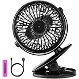ESCNE Mini Battery Operated Clip on Fan,5-Inch Small Portable Stroller Fan Powered by Rechargeable Battery or USB for Baby Stroller Desk Car Gym Workout Camping,Black