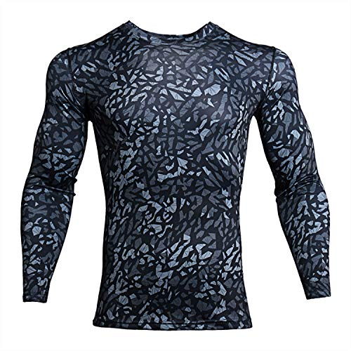 ZHPUAT Men's Sports Running Camo Quick-Drying Compression Long Sleeve T-Shirt-Black ()
