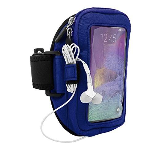 VG Zippered Smartphone Sport Armband for ZTE Blade Max View, Majesty Pro Plus, Sonata 3, Grand X 4, Nubia X, Axon 9 Pro, Smartphones up to 6.4in with Blue Headphones, Blue