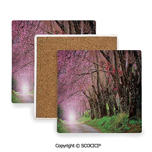 Ceramic Coasters with Cork Base, Prevent Furniture from Dirty and Scratched, Suitable for Kinds of Mugs and Cups,Japanese Garden,National Park in Chiang Mai Cherry Blossoms,3.9