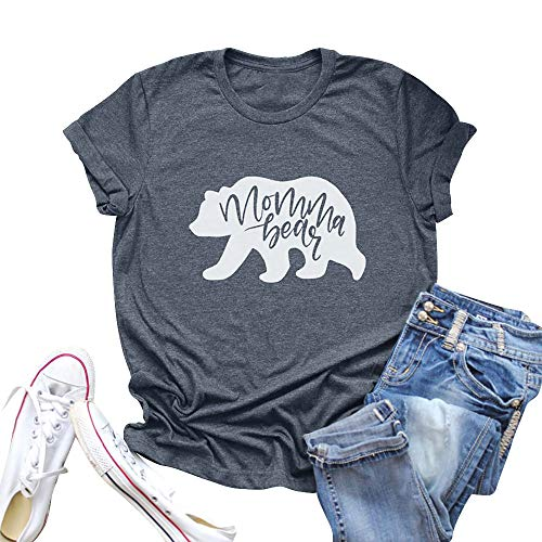 Vaise Women Mama Bear Shirt Short Sleeve Loose Fit Casual Tops T Shirts Cute Printed Tee (M, Dark Grey1) ()