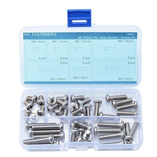 Qty 100 Pan Head M6 x 25mm Stainless Steel Machine Screw 304  Phillip Bolt 6mm