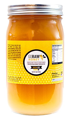 48oz (3lbs) Glass Jar Of Pure Raw Clover Honey | ''The Queen Bee'' | Unfiltered, Unpasteurized, No Sugars/Water Added, 100% American Grade A Honey From Family-Owned Farms by Go Raw Honey