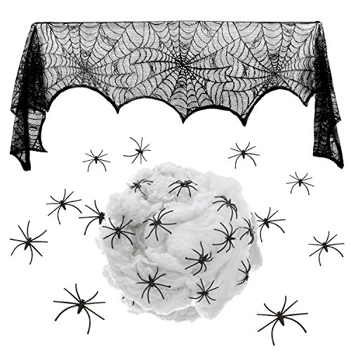 Spider Web Costume Accessories (Pangda 18 x 96 Inch Halloween Decoration Black Lace Spider Web Fireplace Mantle Scarf Cover, White Spider Cob Webs with 24 Pieces Halloween Spiders Festive Party Supplies)