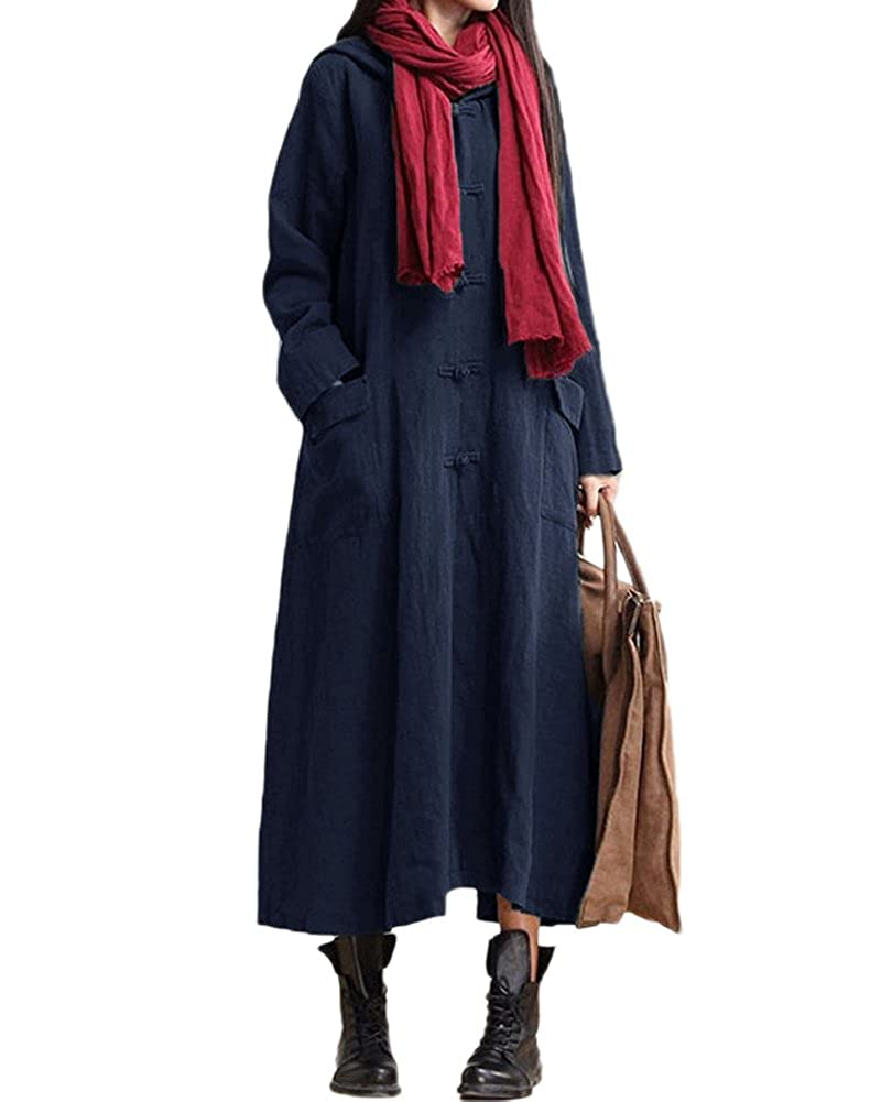 TALLA 3XL. Romacci Primavera Otoño Mujer Vintage Vestido con Capucha de Manga Larga Casual Suelta Algodón Sólido Vestido de Borgoña Azul Oscuro Negro 3XL