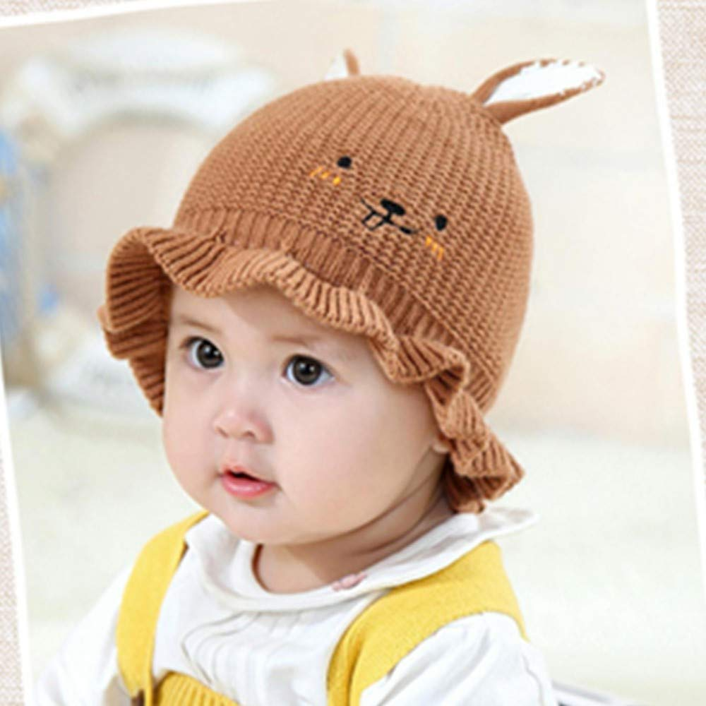 Red Gallity Clearance 2-12 Months Baby Hat Foldable Knit Hat Fisherman Hat Rabbit Ears Cap